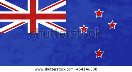 True proportions New zealand flag with grunge texture - stock photo