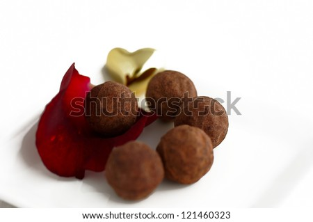 Truffle with rose for Valentine's Day