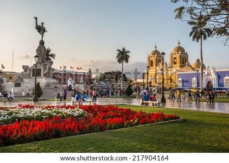 TRUJILLO, PERU - CIRCA 2014: Panoramic view of main square of the city circa 2014 in Trujillo, Peru. - stock photo