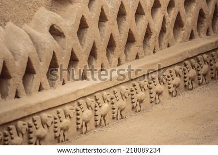TRUJILLO, PERU: Detail of the walls in Chan chan prehispanic citadel - stock photo