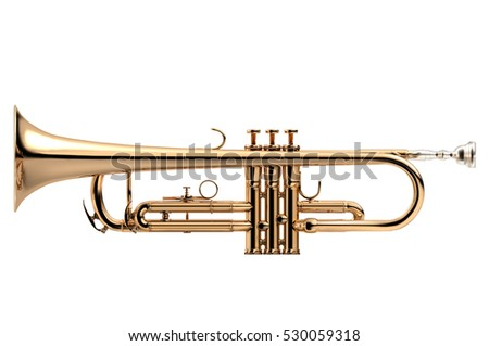 Trumpet - Golden trumpet classical instrument isolated on white, 3D illustration