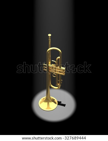 Trumpet in a spotlight