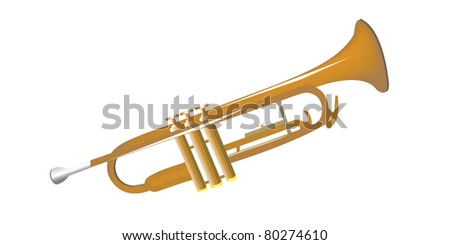 trumpet isolated on white - stock photo