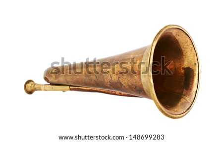 Trumpet musical metal instrument isolated over white background