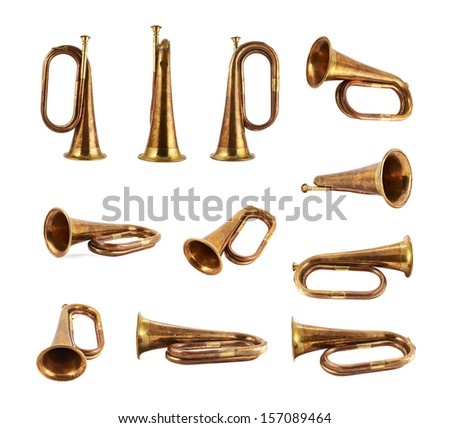 Trumpet musical metal instrument isolated over white background, set of eleven foreshortenings - stock photo