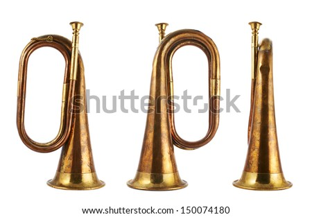Trumpet musical metal instrument isolated over white background, set of three foreshortenings - stock photo