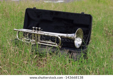 Trumpet on the green grass. - stock photo