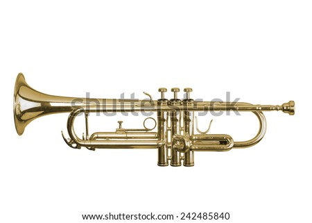 trumpet on white background  - stock photo