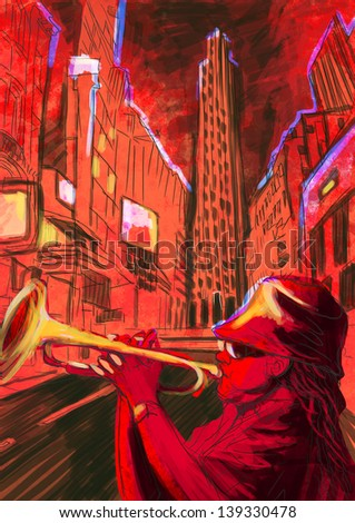 Trumpet player  - A hand drawn illustration of an musician playing trumpet on the night street - Full sized hand drawing (original). - stock photo