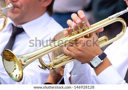 Trumpet playing - stock photo
