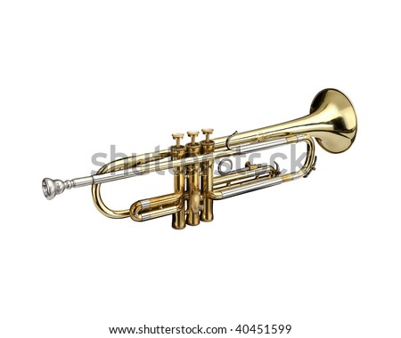 Trumpet, wind instrument. On a white background. - stock photo