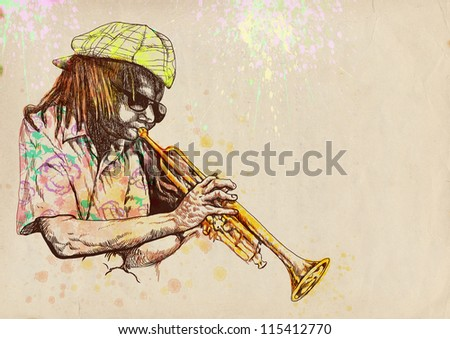 "Trumpeter. Full-sized (original) hand drawing (useful for converting ""live trace"" for the vector image - and others). Technique: digital tablet. Number of colors: hundreds - stock photo"