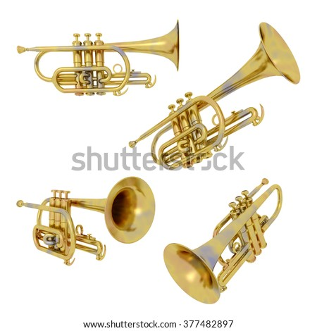 Trumpets isolated on white background Computer generated 3D illustration