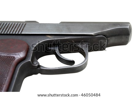 Trunk and trigger of a gun on a white background with clipping path.