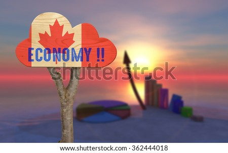 trunk and wooden sign indicating the country's economy canada - stock photo