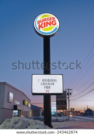 TRURO,CANADA - JANUARY 11, 2015: Burger King is a fast food restaurant chain operating in most countries in the Western Hemisphere, Europe and East Asia. Burger King is based in Miami, FL, USA.