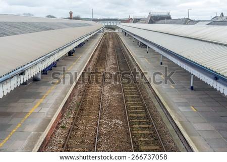 Truro train station in cornwall england uk - stock photo