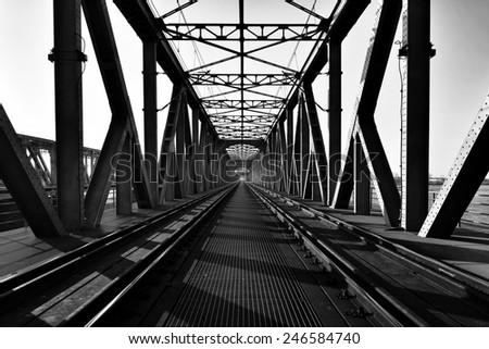 Truss bridge black & withe  - stock photo