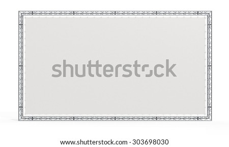 Truss stage. Blank billboard, banner in aluminum trusses frame construction trio. - 3D render image - stock photo
