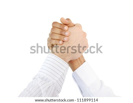 Trust, brotherhood and friendship symbol, two hands together - stock photo