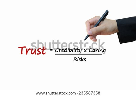 Trust come from credibility with caring divided by risks of business concept - stock photo