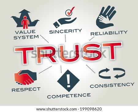 Trust concept. Chart with keywords and icons - stock photo