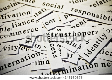 Trust. Concept of cutout words related with business. - stock photo