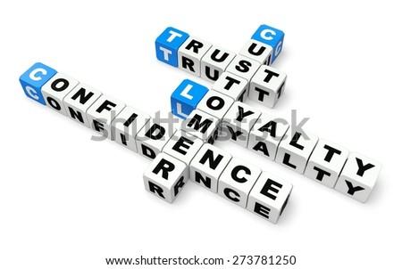 Trust. 3D. Customer loyalty crossword - stock photo