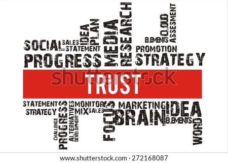 Trust in word collage with red background color