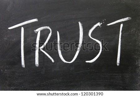 trust title written with chalk on blackboard - stock photo