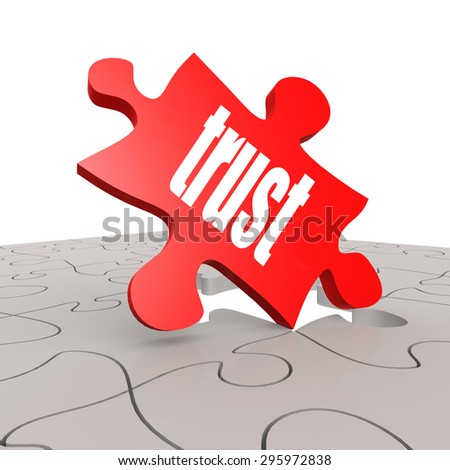 Trust word with puzzle background image with hi-res rendered artwork that could be used for any graphic design. - stock photo