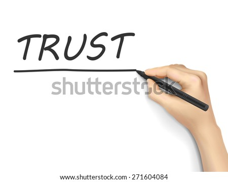 trust word written by hand on white background - stock photo