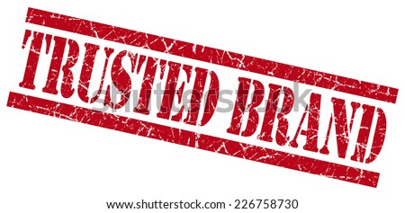 trusted brand red square grunge textured isolated stamp - stock photo