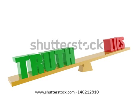 Truth and lies symbols in balance - stock photo