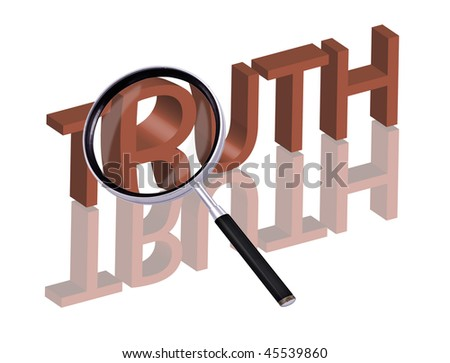 truth button truth icon search truth find truth Magnifying glass enlarging part of red 3D word with reflection - stock photo