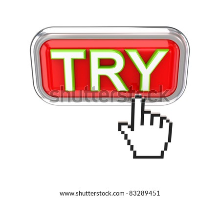 TRY button and white cursor. 3d rendered. Isolated on white background. - stock photo
