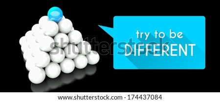 Try to be different, unique concept with pyramid of balls - stock photo