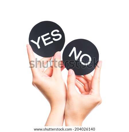 trying to make a decision between Yes or No choice - stock photo