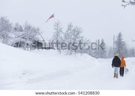 TRYSIL, NORWAY, FEBRUARY 2015, two men out walking in a cold winter landscape on an overcast and stormy day.
