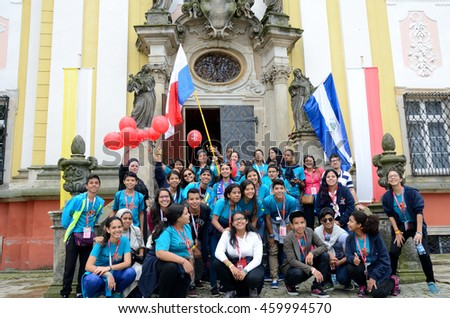 TRZEBNICA, POLAND - JULY 25: World Youth Day, group of pilgrims from Nicaragua and Panama visit St. Jadwiga Sanctuary on 25th July 2016 in Trzebnica.