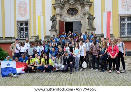 TRZEBNICA, POLAND - JULY 25: World Youth Day, group of pilgrims with Panama flag visit St. Jadwiga Sanctuary on 25th July 2016 in Trzebnica.