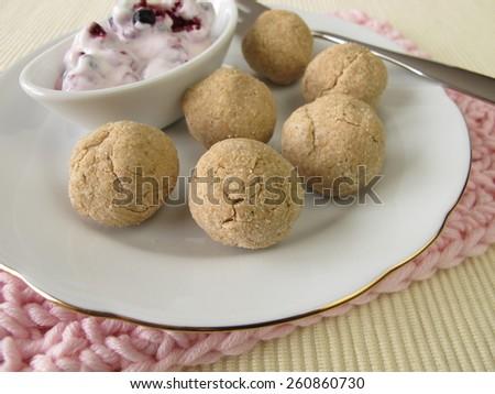 Tsampa balls with fruit yogurt - stock photo