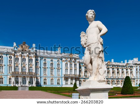 TSARSKOYE SELO, SAINT-PETERSBURG, RUSSIA - JULY  30, 2013: Catherine Palace and the Perseus Statue foreground. The Tsarskoye Selo is State Museum-Preserve. Located near Saint-Petersburg - stock photo