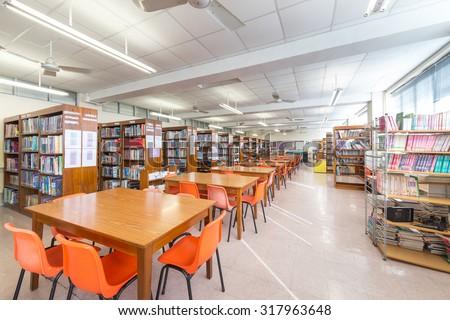 Tseung Kwan O, Hong Kong - September 4, 2015: Library in secondary school in Hong Kong. - stock photo