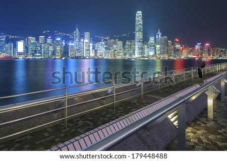 Tsim Sha Tsui Promenade (Avenue of the Stars) in Hong Kong  - stock photo
