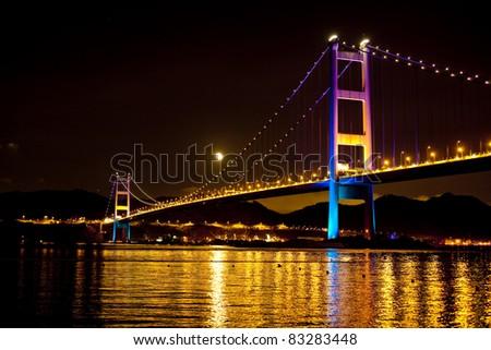 Tsing Ma Bridge at Night Hong Kong - stock photo