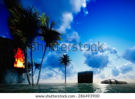 Tsunami devastating the city - scene of destruction - stock photo