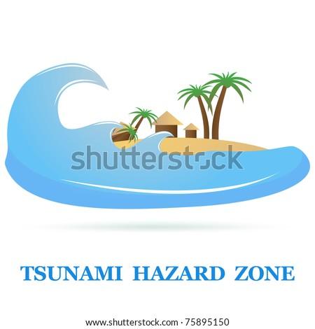 Tsunami Icon sign isolated on white. - stock photo