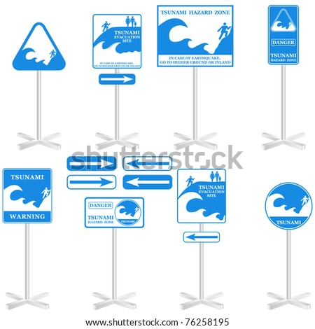 Tsunami sign Set: -Gives you information about the possible danger. Ready to print - stock photo
