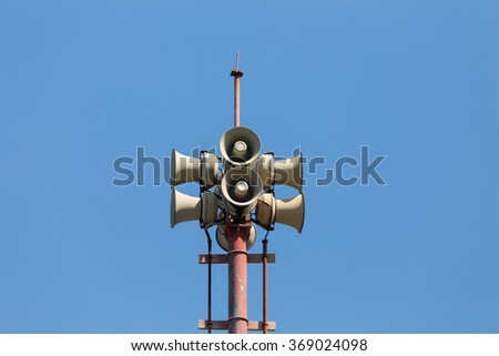Tsunami siren warning loudspeakers are installed on the Phuket shores in Thailand  - stock photo